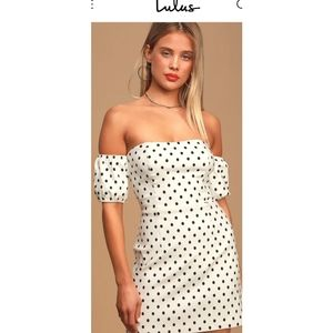 Lulus polka dot off shoulder mini dress sz large